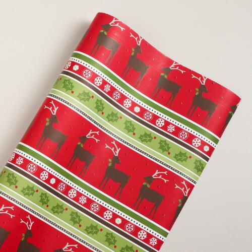 Jumbo Striped Reindeer Wrap