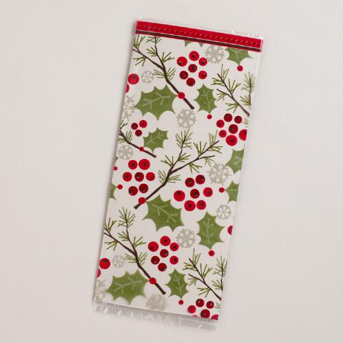 Christmas Holly Cellophane Bags, 8-Pack