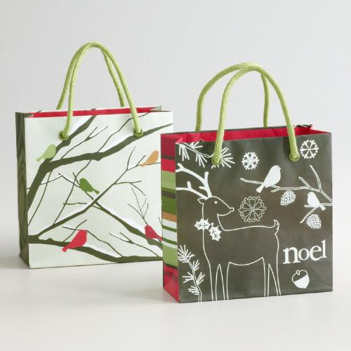 Mini Birds on a Branch Gift Bags, Set of 2