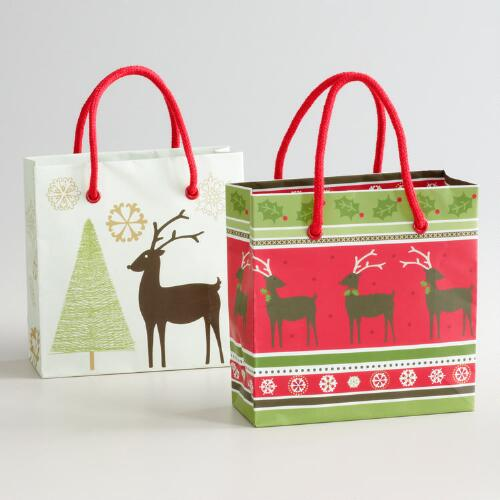 Mini Reindeer Gift Bags, Set of 2