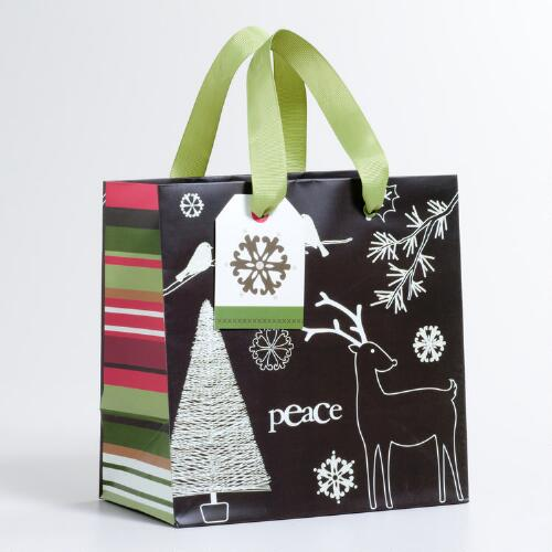 Small Brown and White Outline Gift Bag