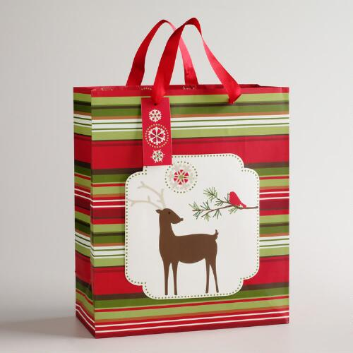 Large Striped Reindeer Gift Bag