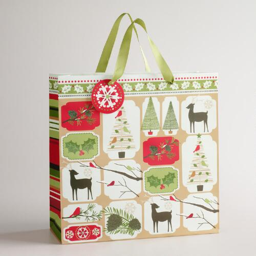 Large Christmas Squares Gift Bag