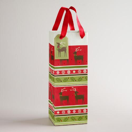 Striped Christmas Wine Bag