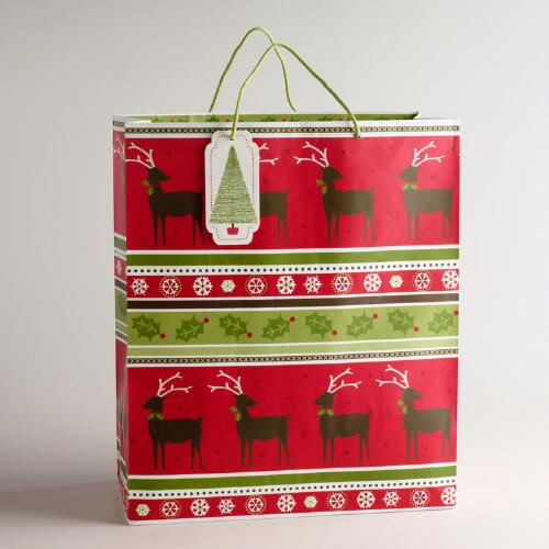 Jumbo Christmas Stripes Gift Bag