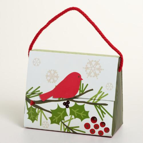 Holly Branch and Bird Candy Purse