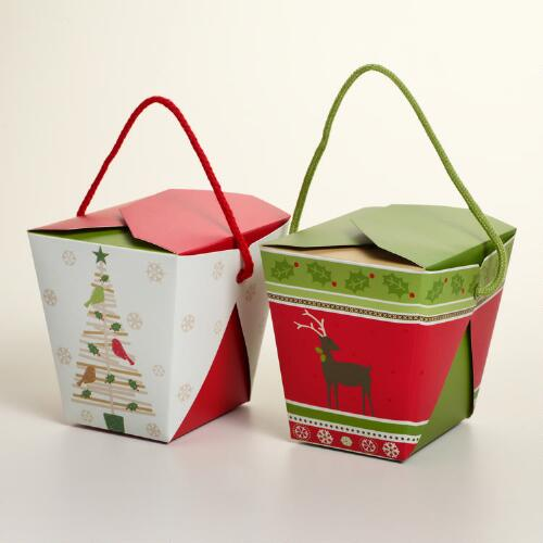 Medium Christmas Carols Take Out Boxes, Set of 6