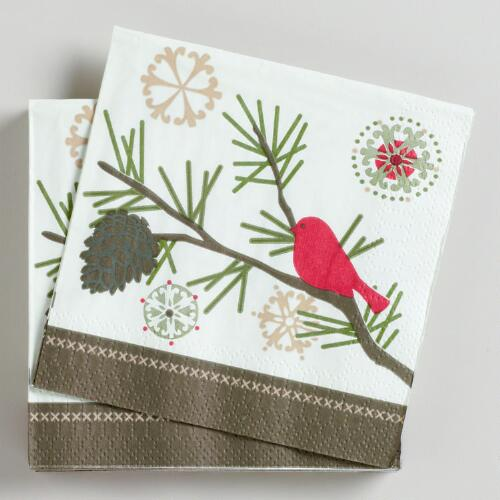 Birds Beverage Napkins, Set of 16