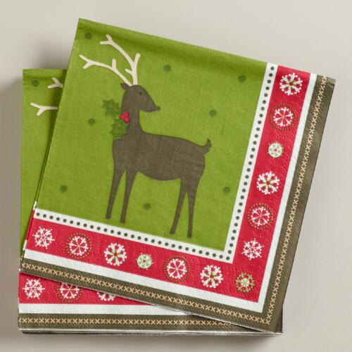 Reindeer Lunch Napkins, Set of 16