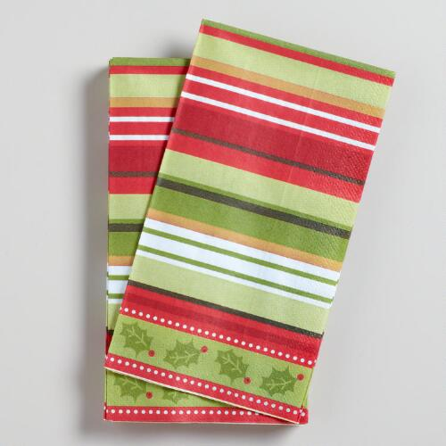 Striped Christmas Guest Towels, Set of 16
