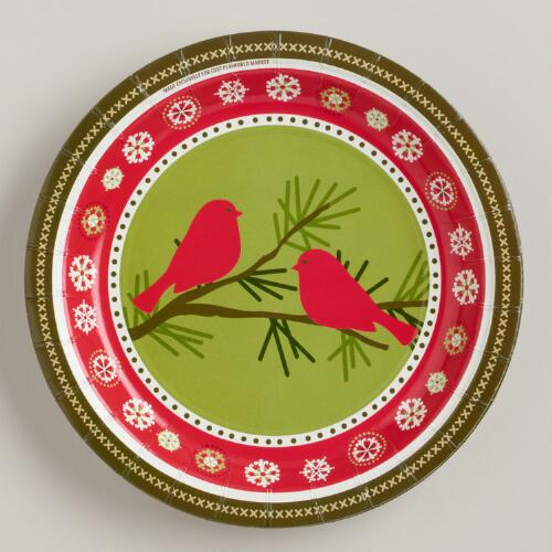 Birds on Branch Paper Plates, Set of 8