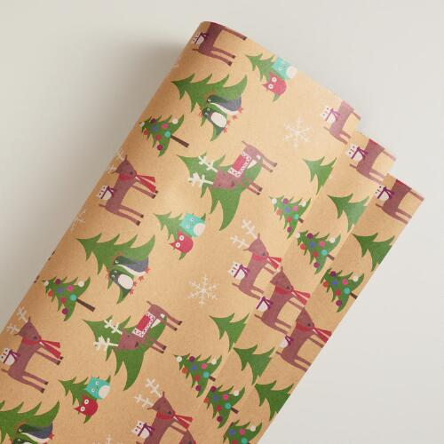 Animal Toss Kraft Gift Wrap