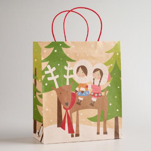 Large Eskimo Reindeer Kraft Gift Bag
