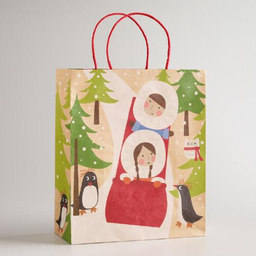 Large Eskimo Sledding Kraft Gift Bag