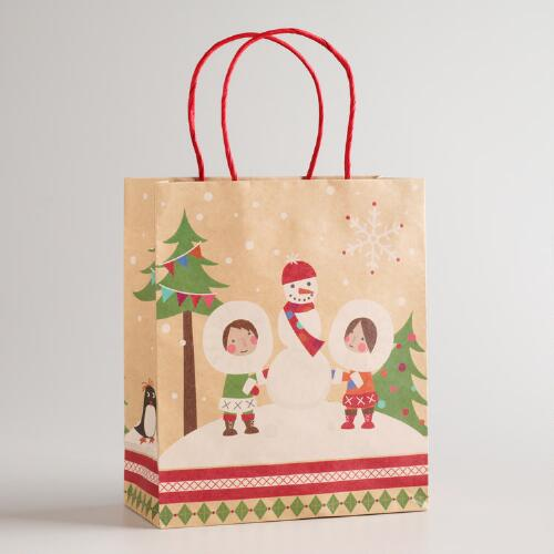 Medium Eskimo Snowman Kraft Gift Bag