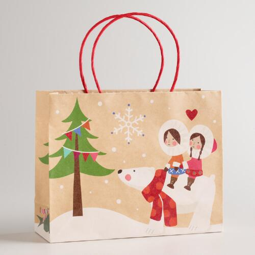 Medium Eskimo Polar Bear Kraft Gift Bag