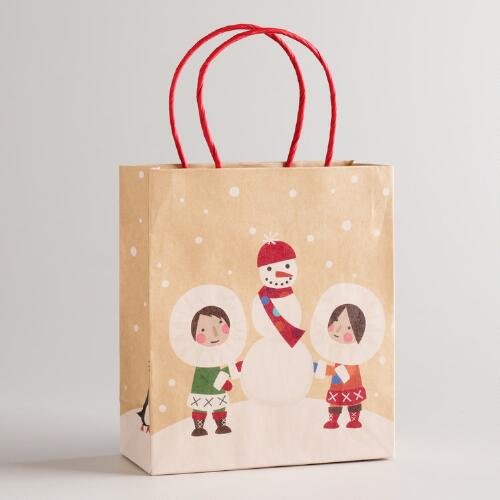Small Eskimo Snowman Kraft Gift Bag