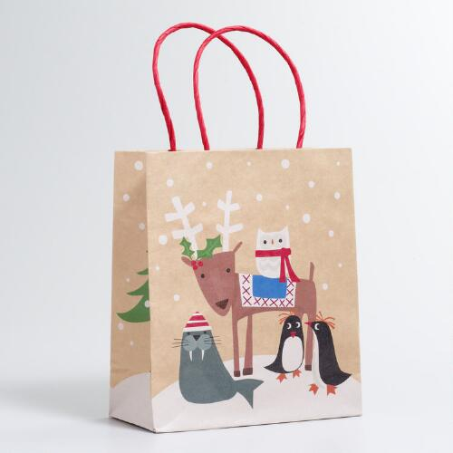 Small Eskimo Animals Kraft Gift Bag
