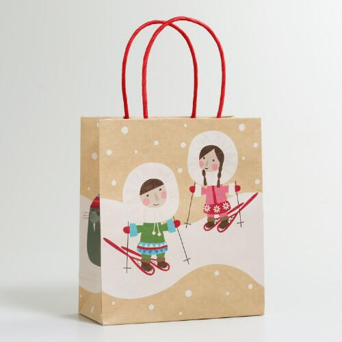Small Eskimo Snowshoes Kraft Gift Bag