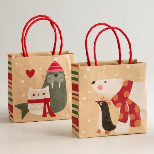 Mini Eskimo Kraft Gift Bags, Set of 2
