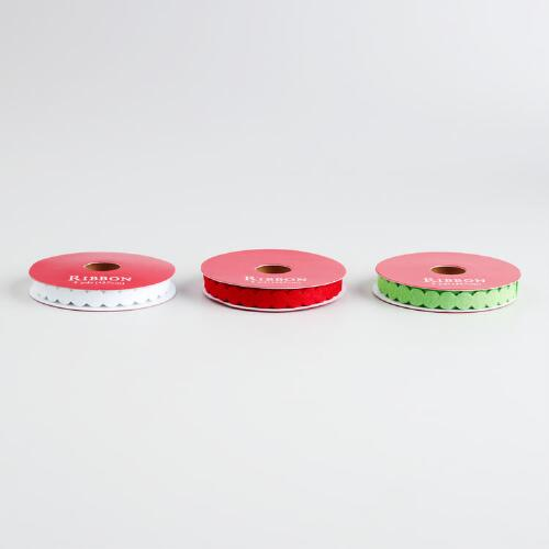 Red, Green and White Felt Circle Ribbons, 3-Pack