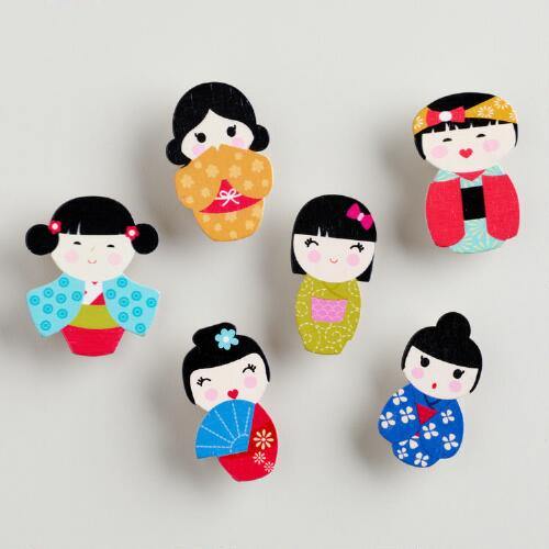 Kokeshi Dolls Wooden Clips, Set of 6