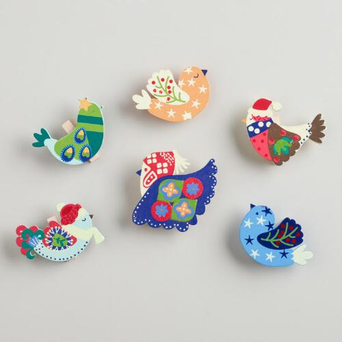 Alpine Bird Wooden Clips, Set of 6