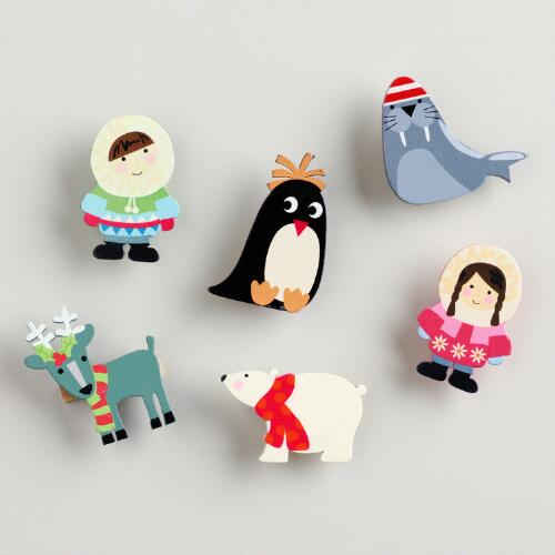 Eskimo Wooden Clips, Set of 6