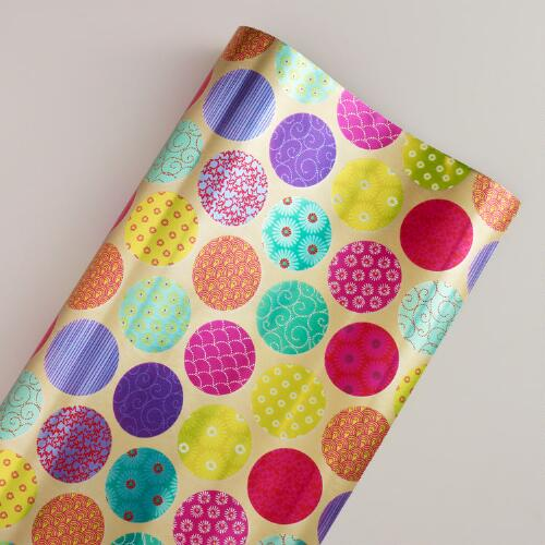 Patterned Dots Kokeshi Gift Wrap Sheet