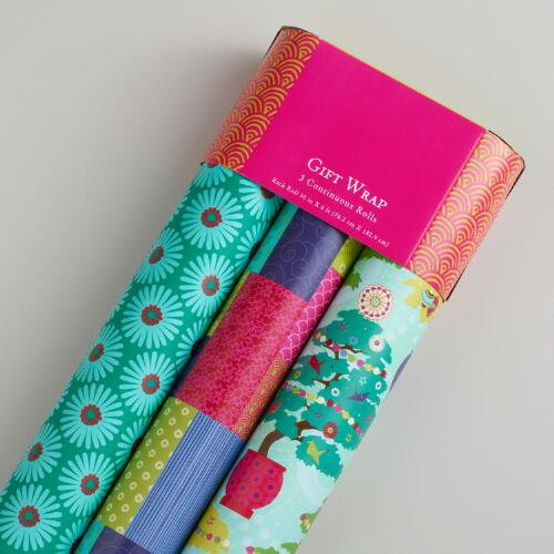 Patchwork Kokeshi Gift Wrap, 3-Pack