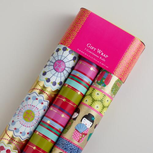 Striped Kokeshi Gift Wrap, 3-Pack