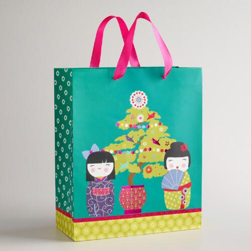 Large Kokeshi Dolls and Tree Gift Bag