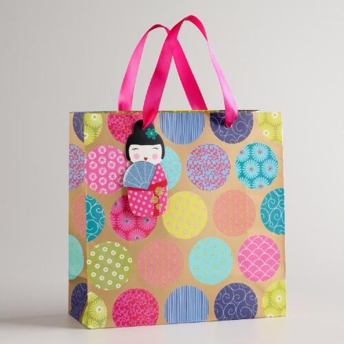 Medium Patterned Dots Kokeshi Gift Bag