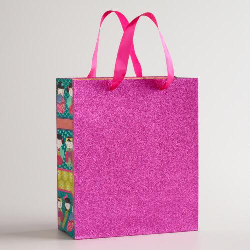 Medium Pink Glitter Kokeshi Gift Bag