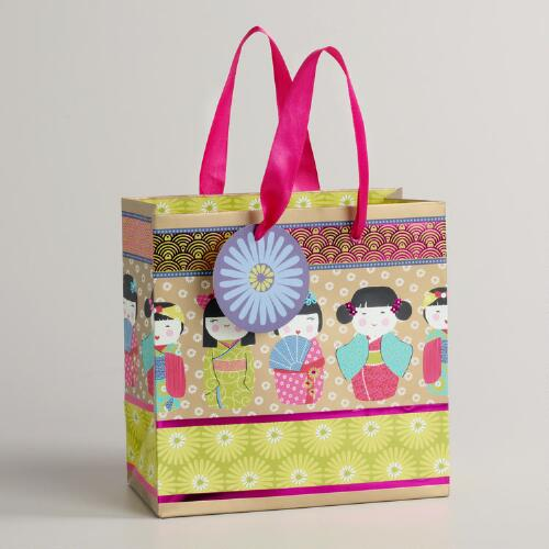 Small Striped Kokeshi Doll Gift Bag