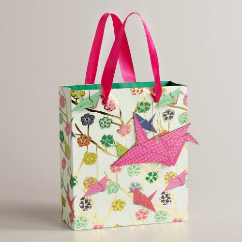 Small Kokeshi Cranes Gift Bag