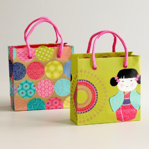 Mini Kokeshi Doll Bags, Set of 2