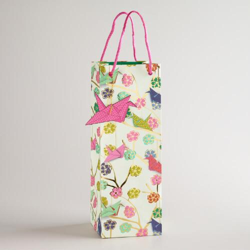 Cranes Kokeshi Wine Bag