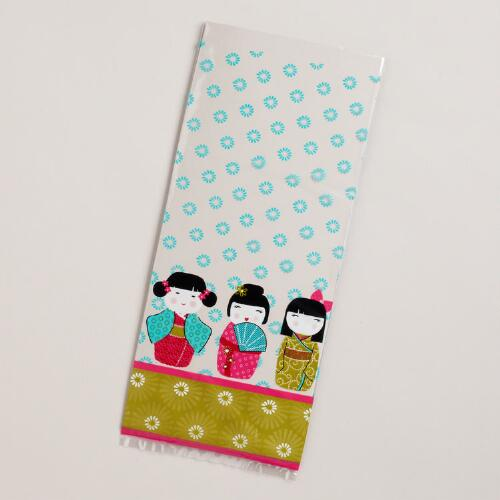 Kokeshi Dolls Cellophane Bags, 8-Pack