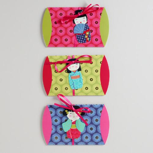 Kokeshi Dolls Gift Pouches, Set of 3