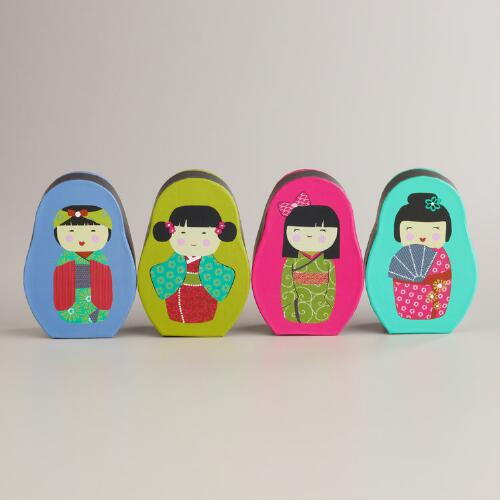 Small Kokeshi Boxes, Set of 4