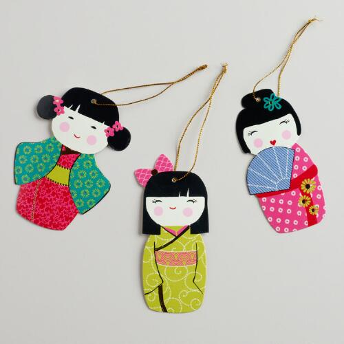 Kokeshi Dolls Gift Tags, Set of 6
