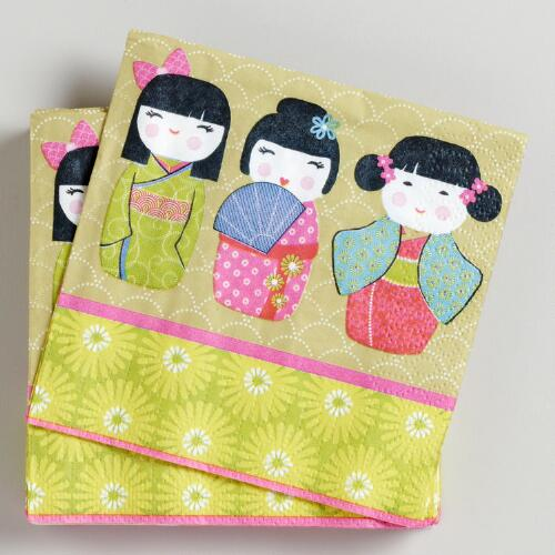 Christmas Kokeshi Beverage Napkins, Set of 16