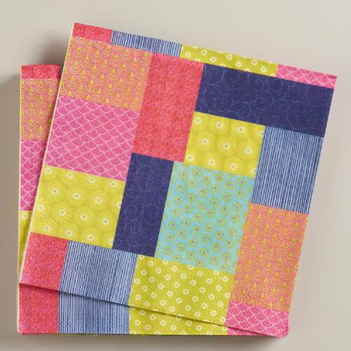 Patchwork Kokeshi Lunch Napkins, Set of 16