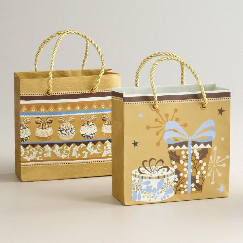 Mini Noel Presents Gift Bags, Set of 2