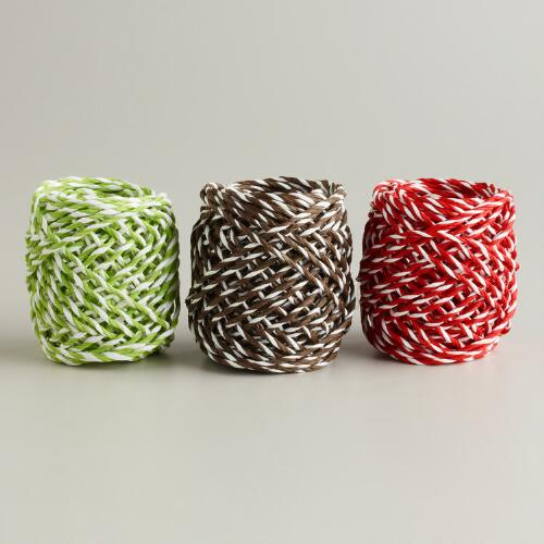 Red, Green and Brown Raffia Ribbon Spools, Set of 3