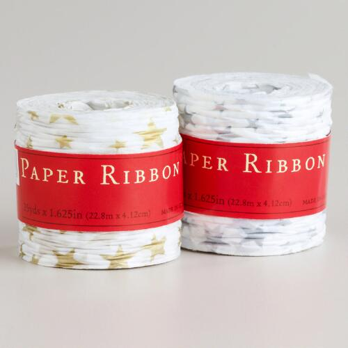 Gold and Silver Star Paper Ribbon, Set of 2