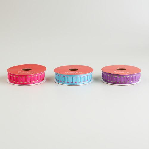 Turquoise, Purple and Pink Stitched Ribbon, 3-Pack