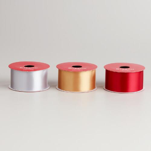 Gold, Silver and Red Satin Ribbon, Set of 3