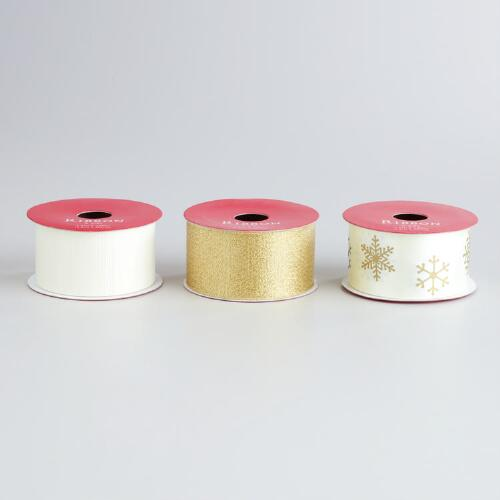 Gold and Ivory Ribbon, 3-Pack